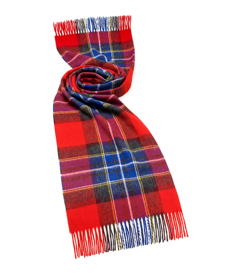 Scampston red & blue lambswool scarf Sale - bronte