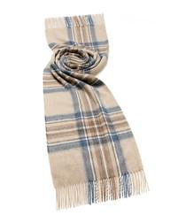 Kildwick natural & aqua lambswool scarf