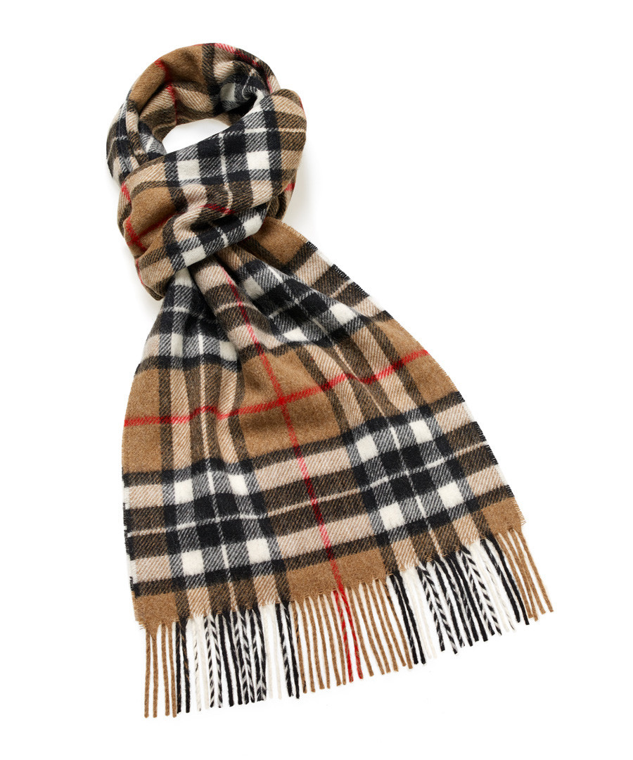 Thompson camel tartan lambswool scarf Sale - bronte