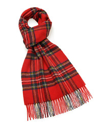 Stewart royal red lambswool scarf
