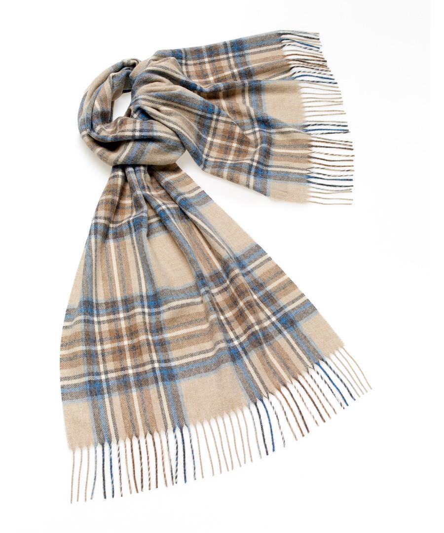 Kildwick natural & aqua lambswool scarf Sale - bronte