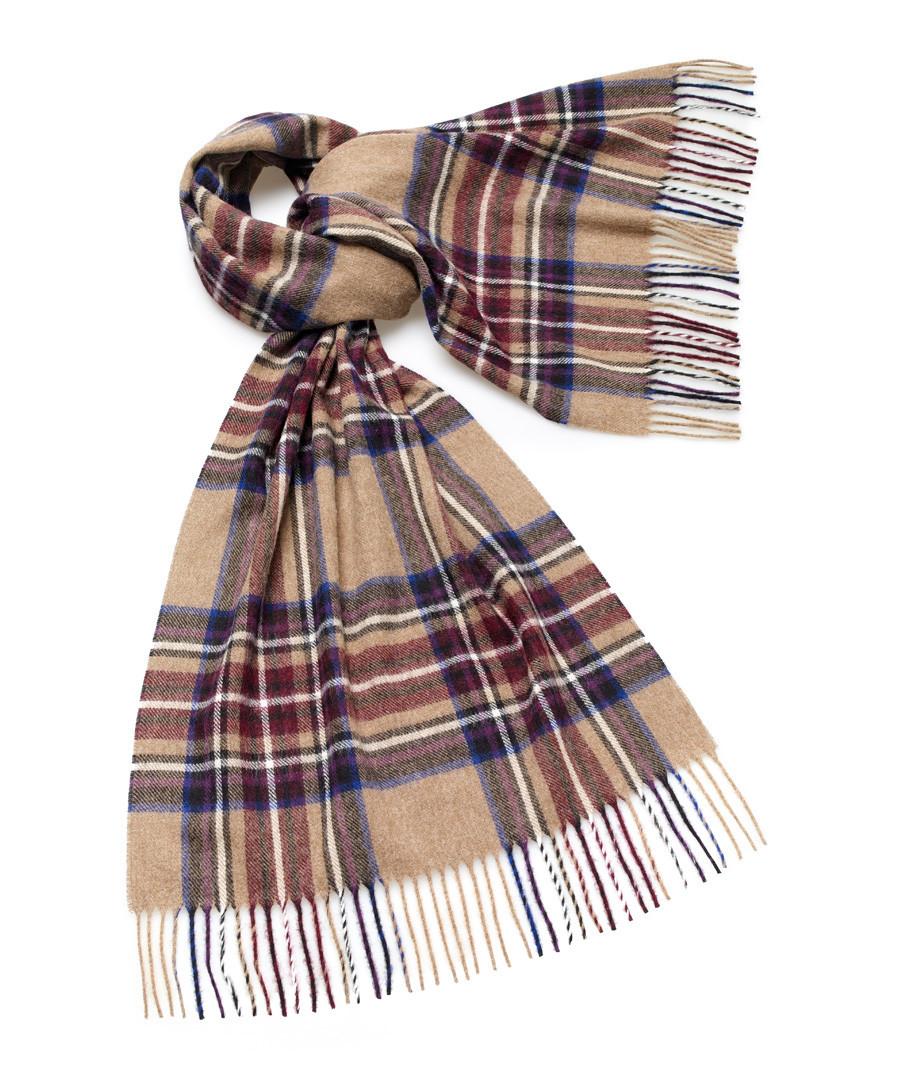 Kildwick camel & plum lambswool scarf Sale - bronte