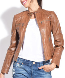 Women's Melody gold pure leather jacket