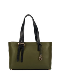 The East West Dean green leather shopper
