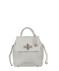 Micro Elba silver leather backpack