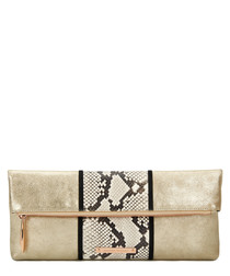 The Stripe Hoffman sand leather clutch
