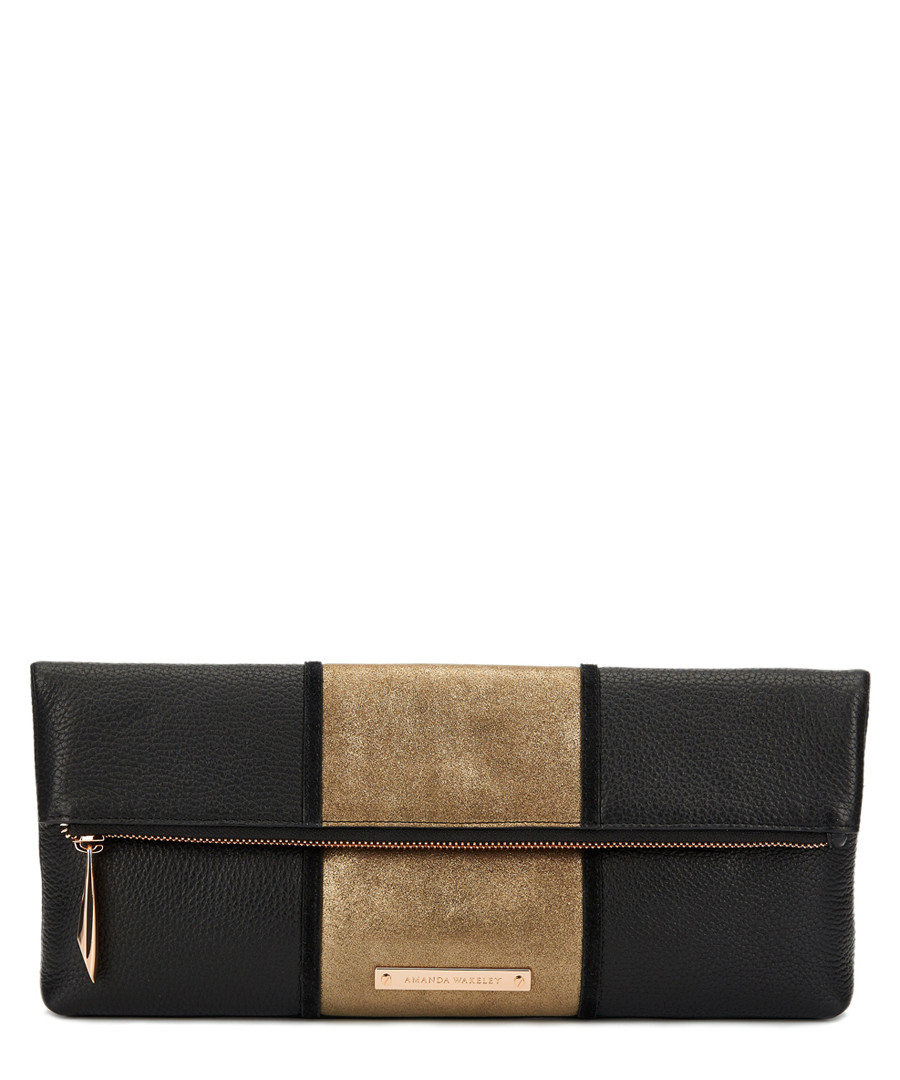 The Stripe Hoffman black leather clutch Sale - amanda wakeley