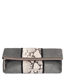 The Stripe Hoffman grey leather clutch