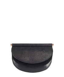 Presley black leather clutch