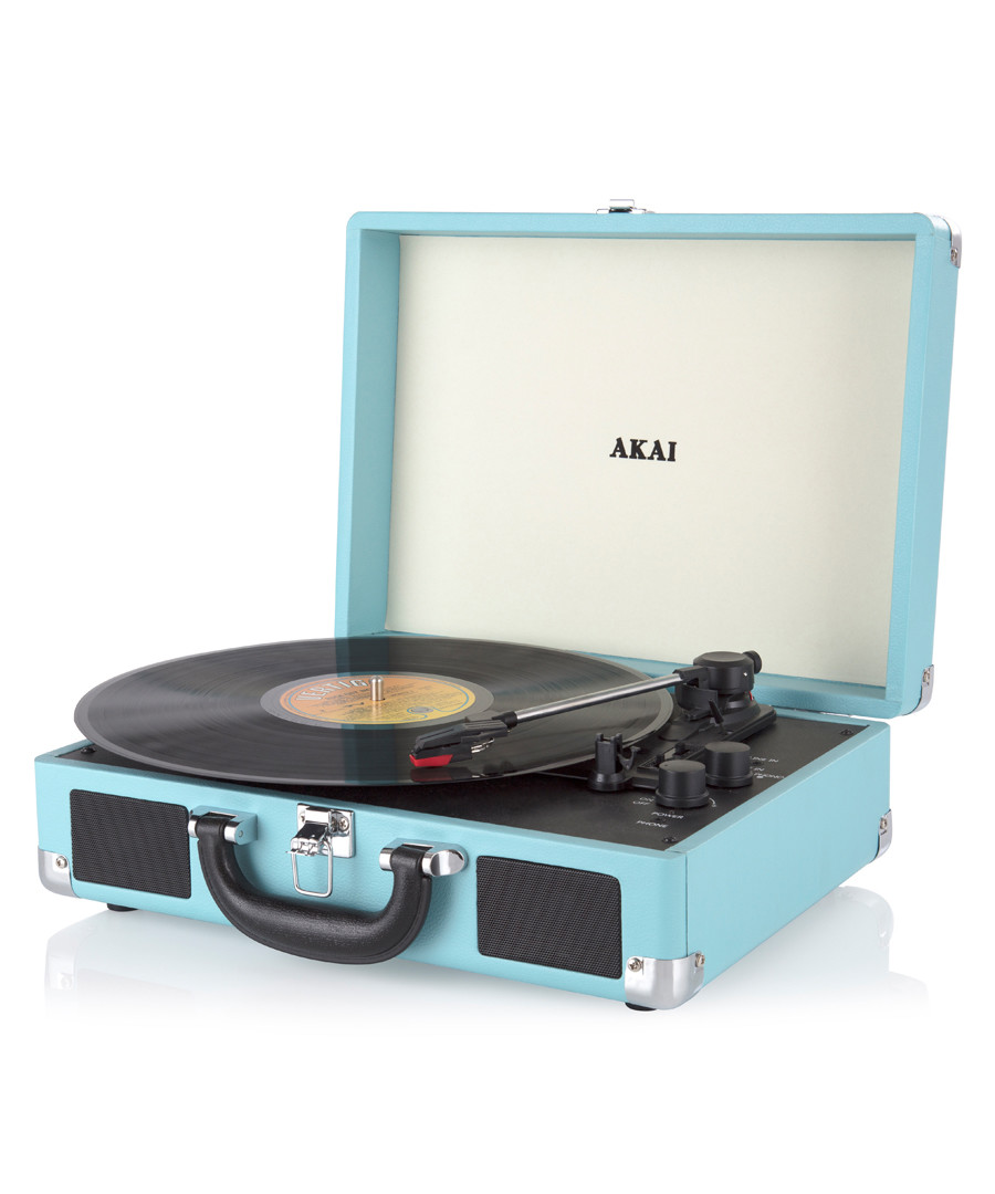 Blue rechargeable turntable in case Sale - Akai