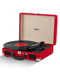 Red rechargeable turntable in case