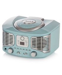 Blue retro bluetooth CD boombox