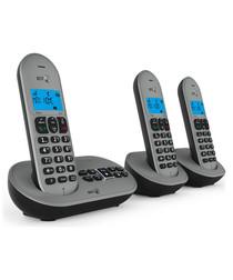 3pc grey & black cordless home phone