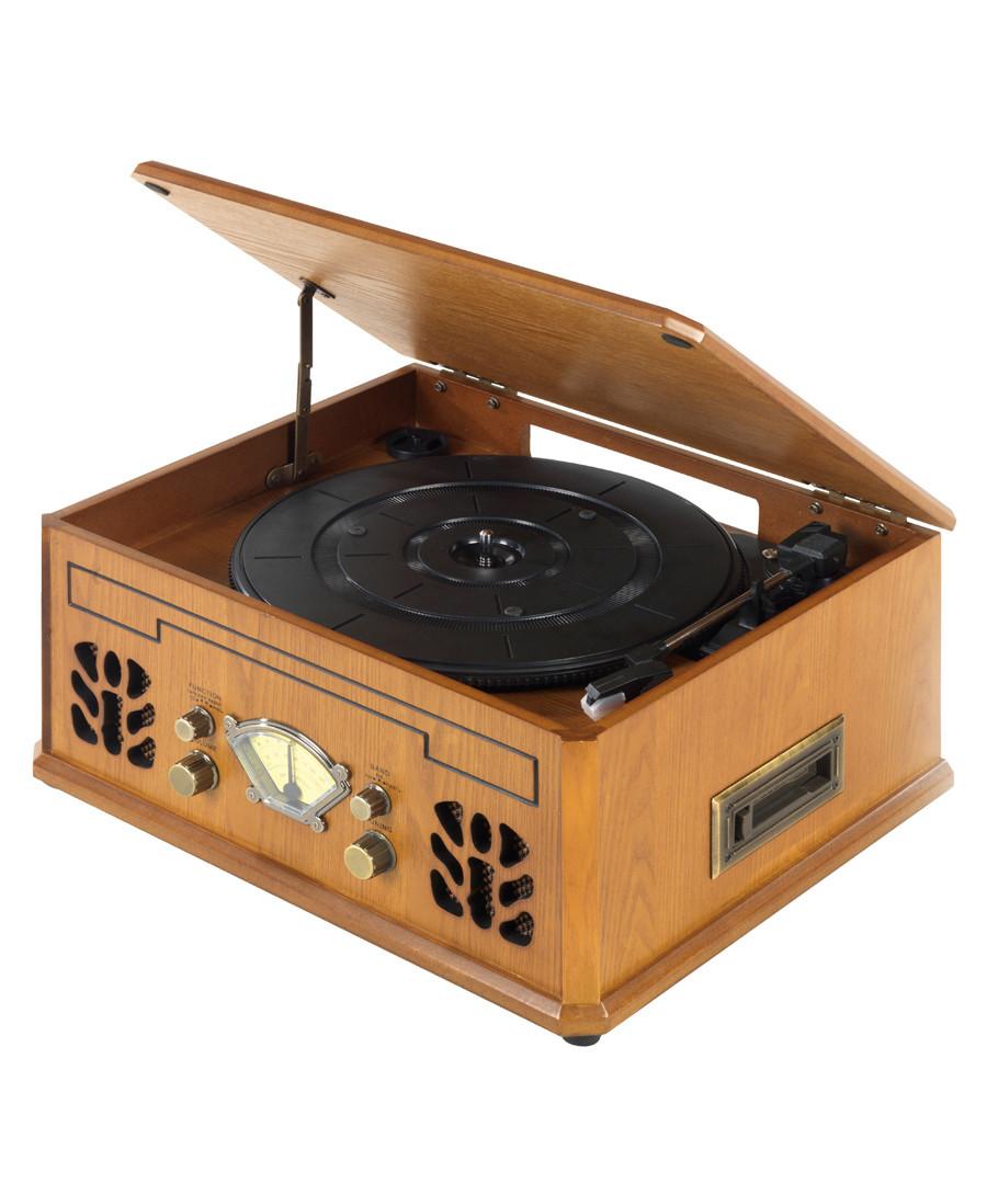 Brown retro record, CD & cassette player Sale - iTek