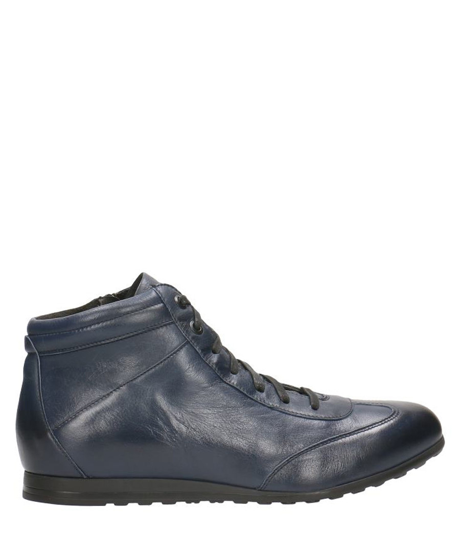 Navy blue leather ankle sneakers Sale - Gino Rossi