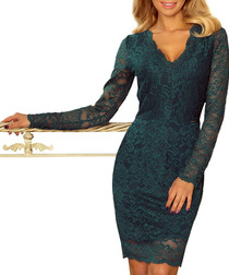 Green V-neck long sleeve mini dress