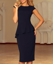 Navy asymmetric peplum midi dress