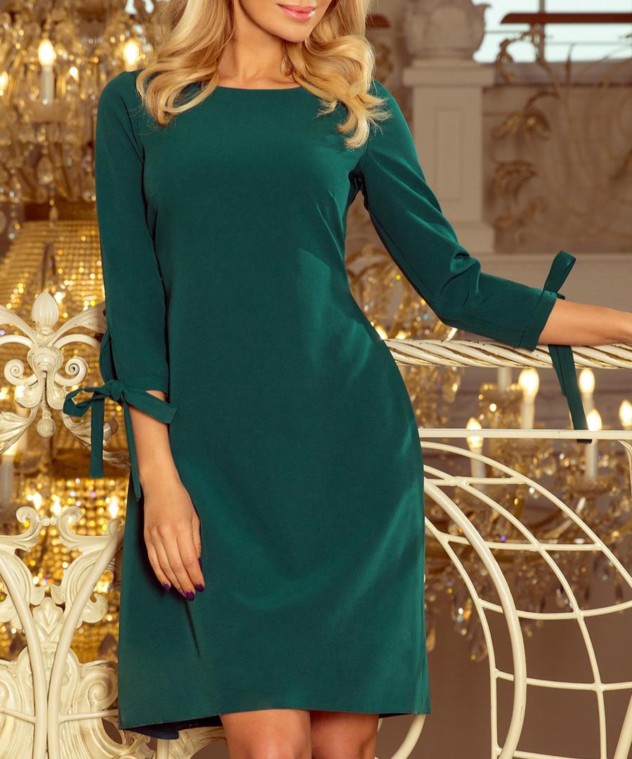 Green 3/4 bow sleeve mini dress Sale - numoco