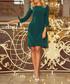 Green 3/4 bow sleeve mini dress Sale - numoco Sale