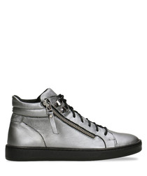 Silver leather zip sneakers