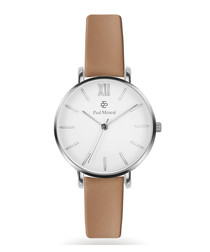 Silver-tone & camel leather watch