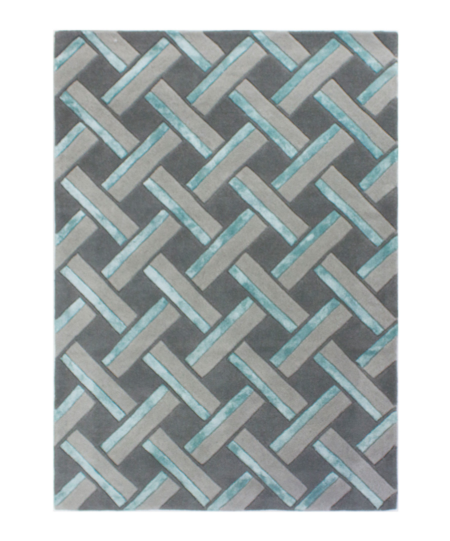Botanical grey & blue rug 160x230cm Sale - flair rugs