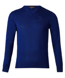 Royal blue pure wool branded jumper