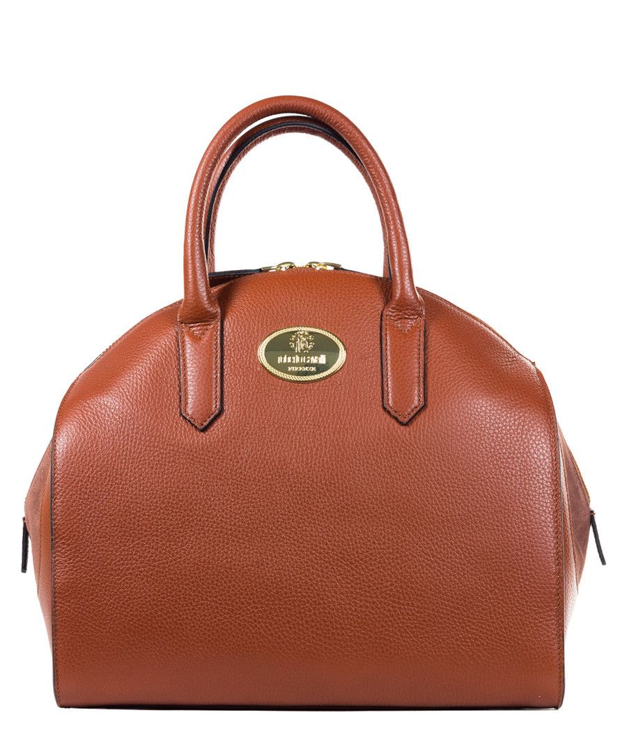 Brown leather branded bowling bag Sale - roberto cavalli