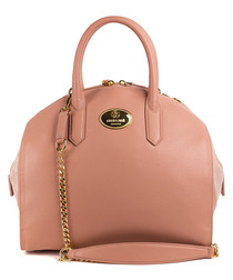 Nude leather bowling bag