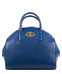 Blue leather bowling bag