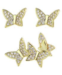 Champagne & gold-tone butterfly studs