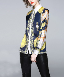 Navy & yellow long sleeve shirt