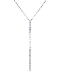 14ct white gold-plated bar drop necklace