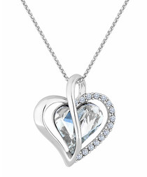 14ct white gold-plated heart pendant