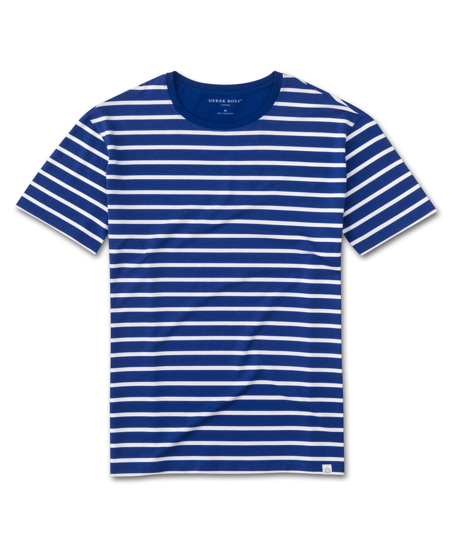 Alfie blue & white stripe T-shirt Sale - Derek Rose