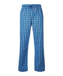 Blue cotton plaid pyjama bottoms
