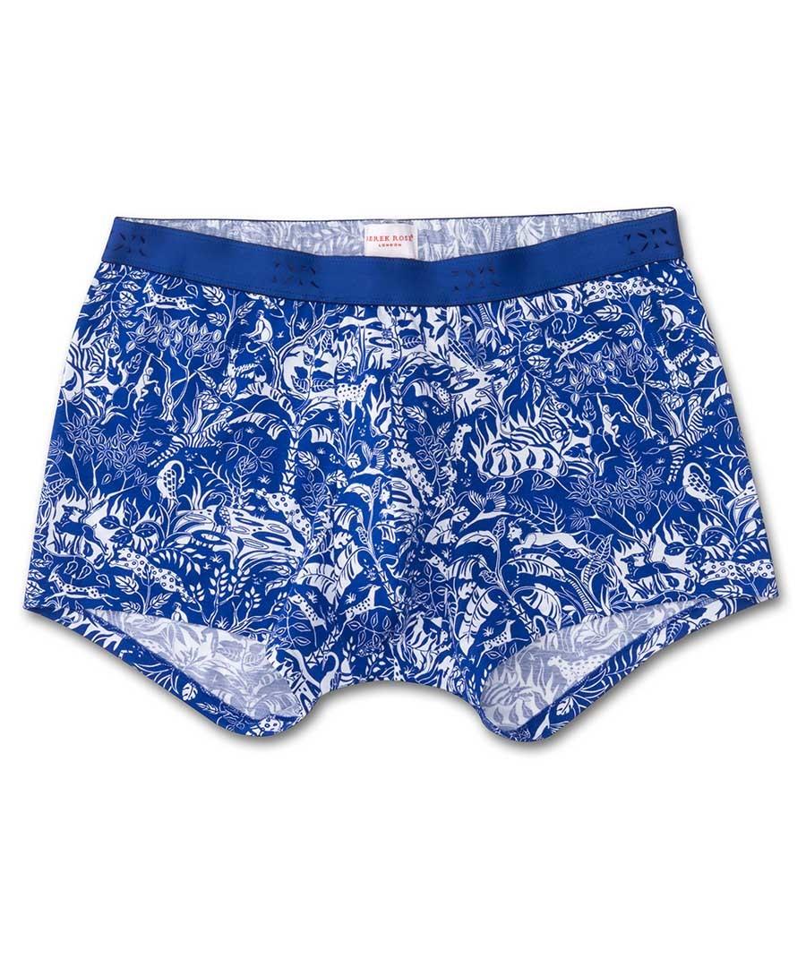 Blue cotton floral print boxers Sale - Derek Rose