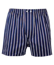 Navy cotton stripe two-tone boxers