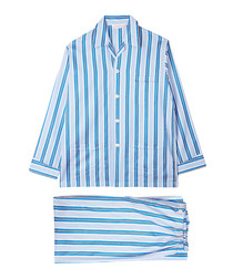 Blue pure cotton stripe pyjama set