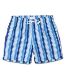 Blue stripe print swimming shorts
