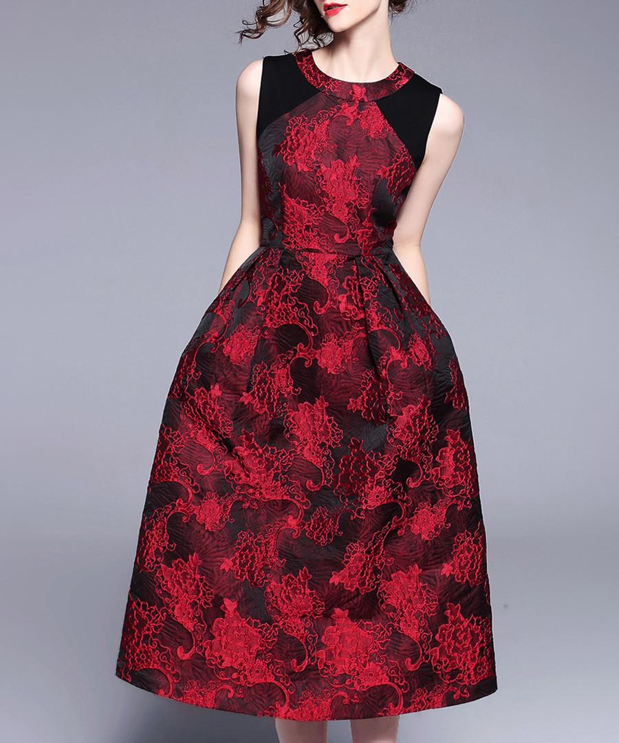 Wine sleeveless midi dress Sale - yyfs