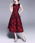 Wine sleeveless midi dress Sale - yyfs Sale
