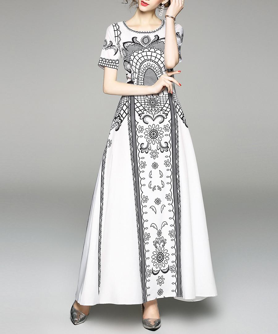 White & black round-neck maxi dress Sale - yyfs