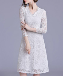 White knee-length lace dress
