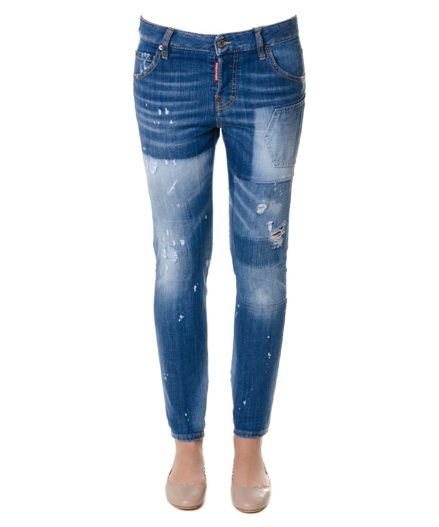 Cool Girl blue cotton cropped jeans Sale - dsquared2