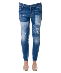Cool Girl blue cotton cropped jeans