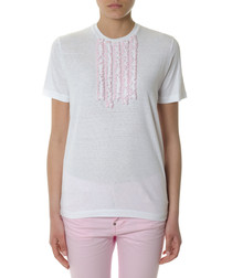 White & pink cotton frilled T-shirt