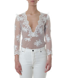 White sheer floral bodysuit