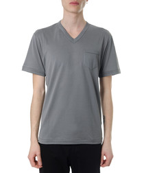 Grey pure cotton V-neck T-shirt
