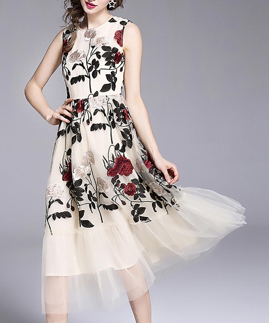 Apricot floral midi dress Sale - yyfs